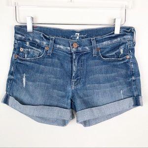 7 FOR ALL MANKIND l Distressed Cuffed Jean Shorts